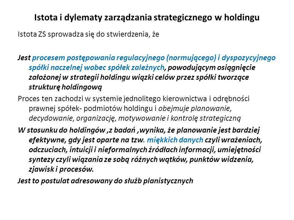 Istota i dylematy zarządzania strategicznego w holdingu
