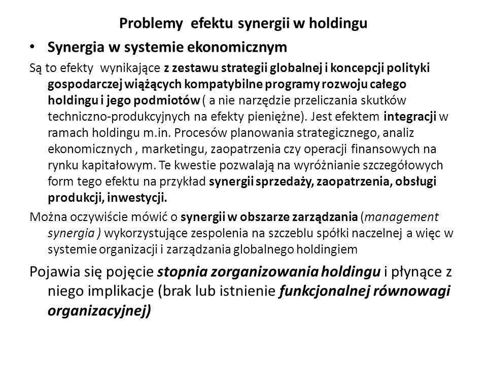 Problemy efektu synergii w holdingu