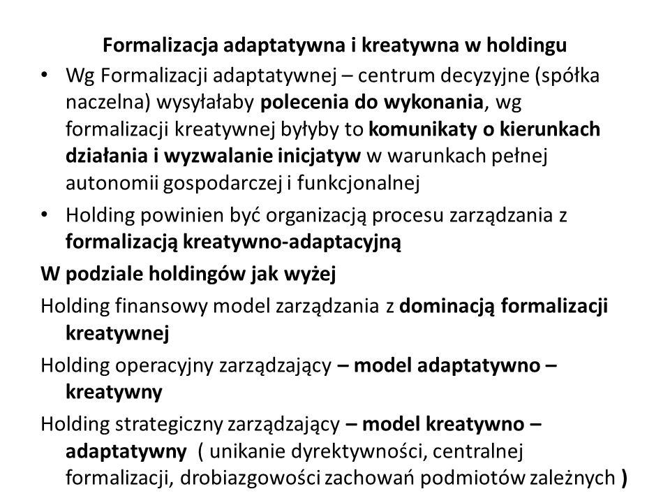 Formalizacja adaptatywna i kreatywna w holdingu