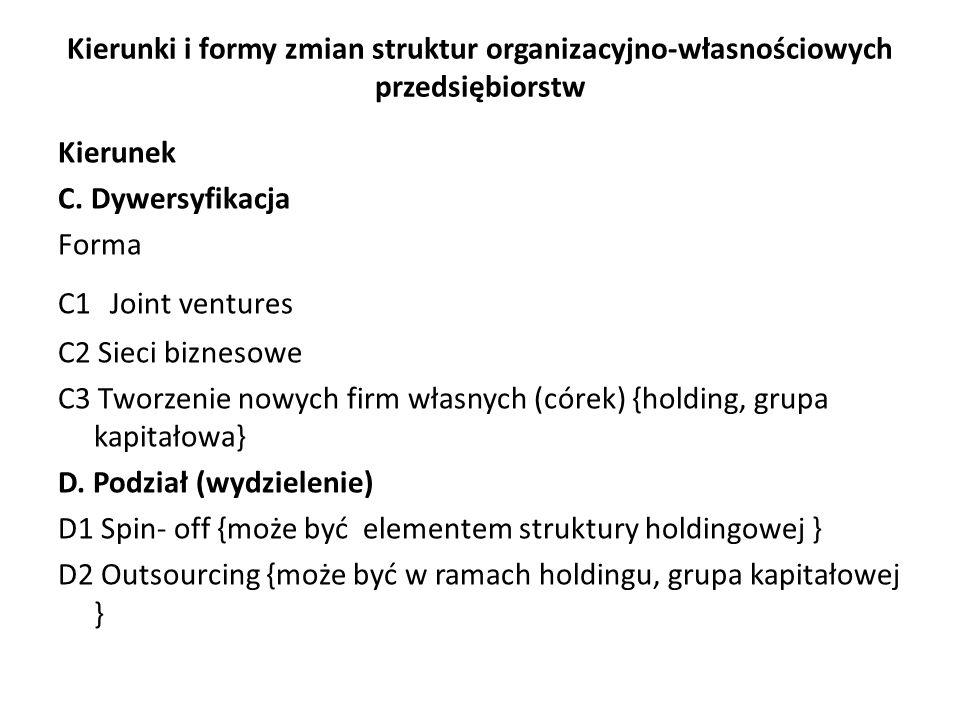 Kierunki i formy zmian struktur organizacyjno-własnościowych przedsiębiorstw