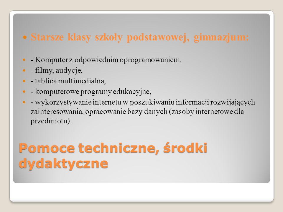 Pomoce techniczne, środki dydaktyczne