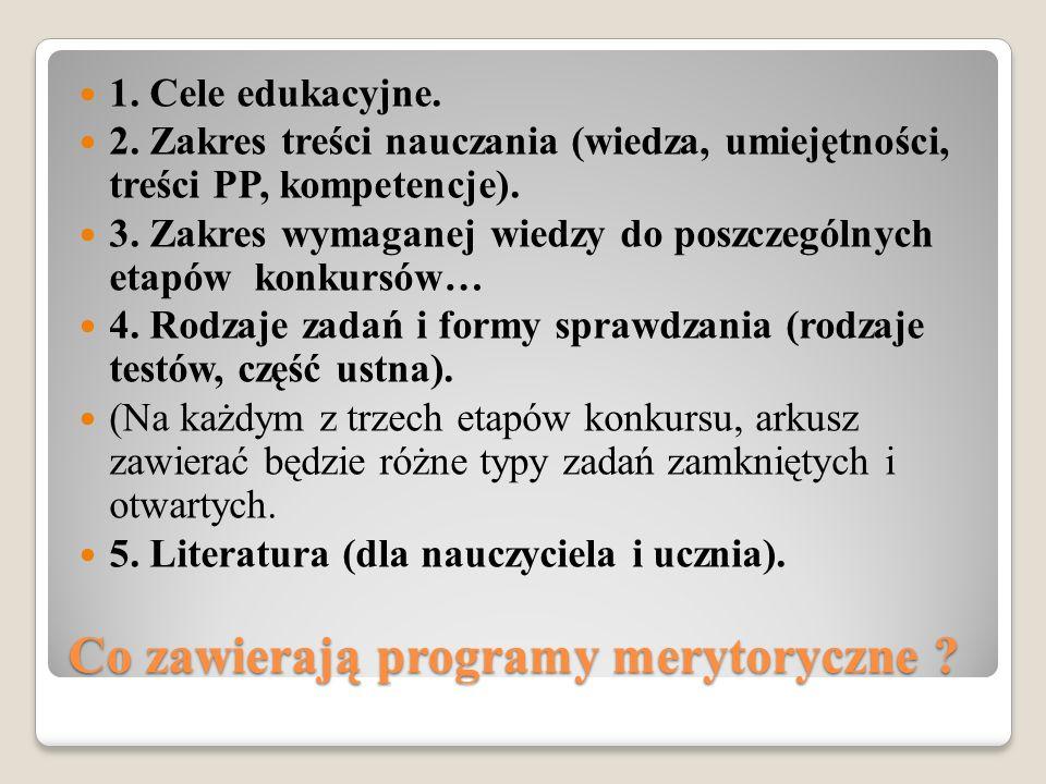 Co zawierają programy merytoryczne