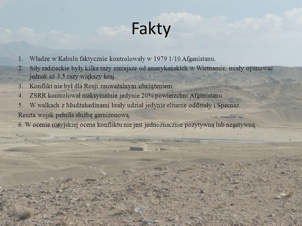 Fakty Władze w Kabulu faktycznie kontrolowały w 1979 1/10 Afganistanu.