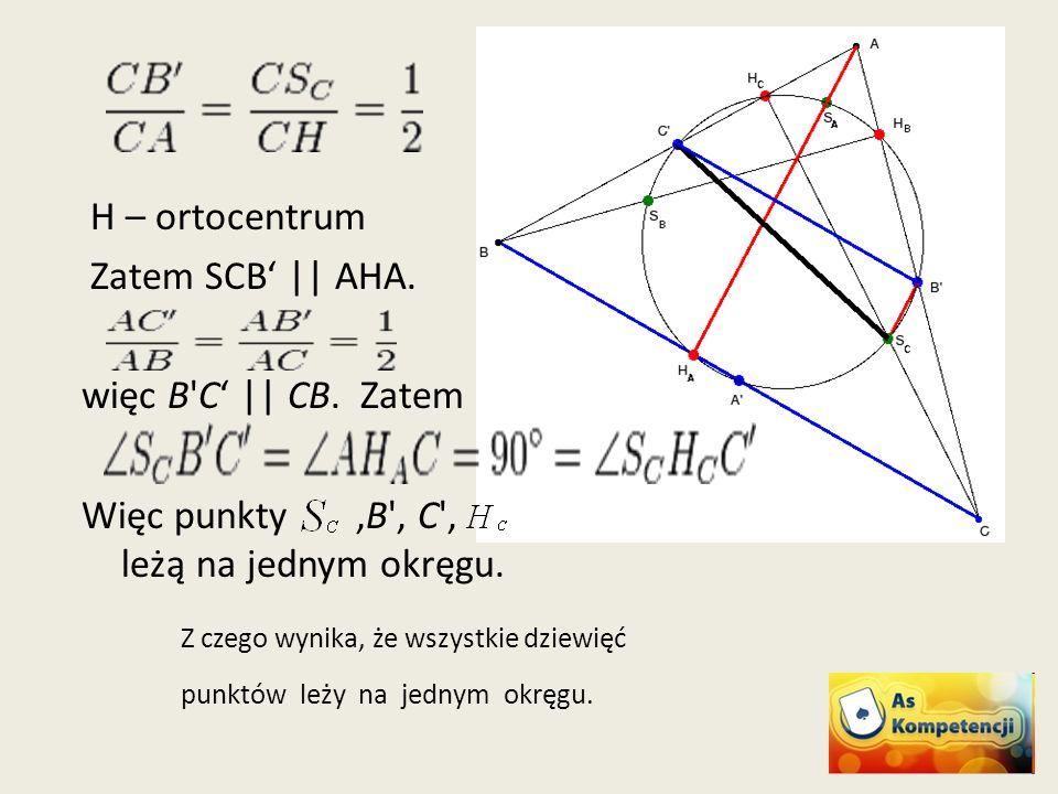 Więc punkty ,B , C , leżą na jednym okręgu.