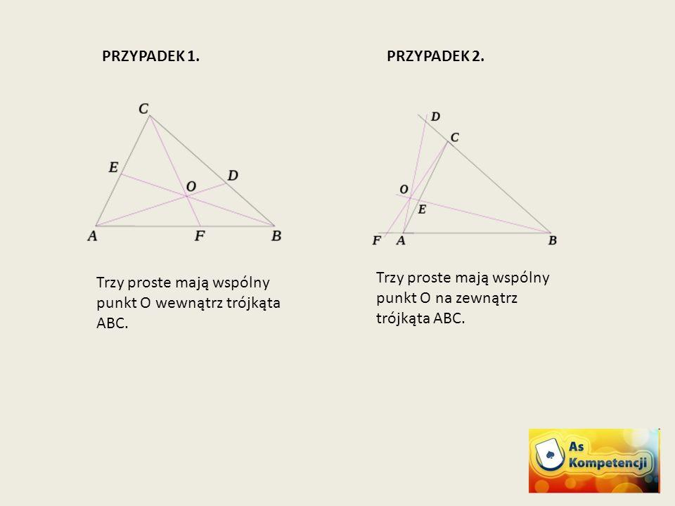 PRZYPADEK 1. PRZYPADEK 2. Trzy proste mają wspólny punkt O na zewnątrz trójkąta ABC.