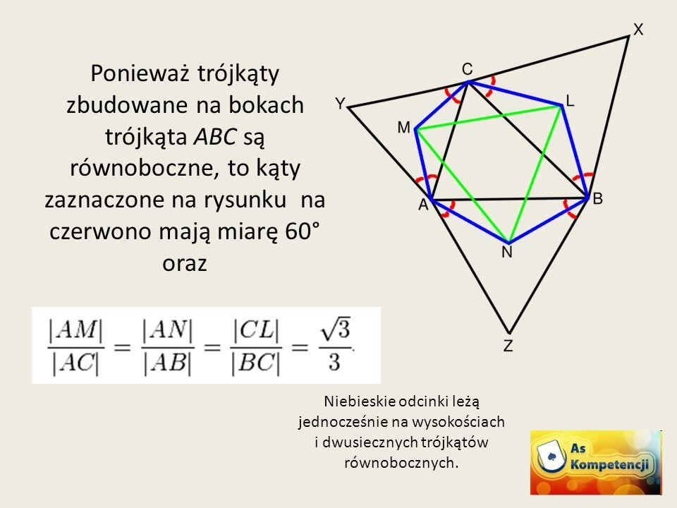 Ponieważ trójkąty zbudowane na bokach trójkąta ABC są równoboczne, to kąty zaznaczone na rysunku na czerwono mają miarę 60° oraz