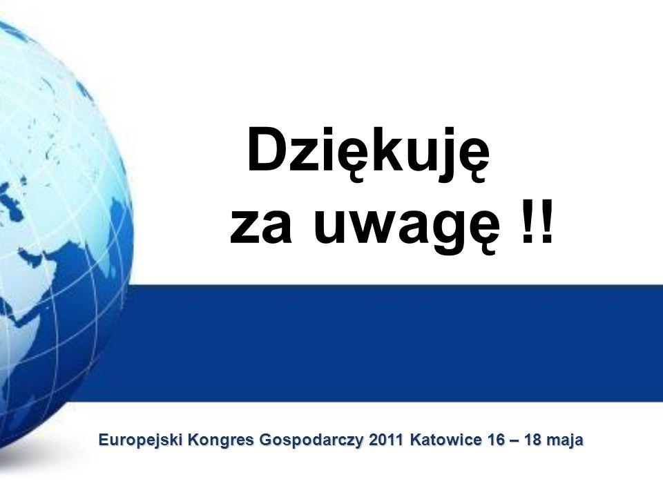 Dziękuję za uwagę !! Europejski Kongres Gospodarczy 2011 Katowice 16 – 18 maja