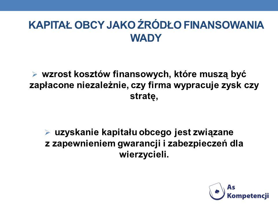 Kapitał obcy jako źródło finansowania WADY