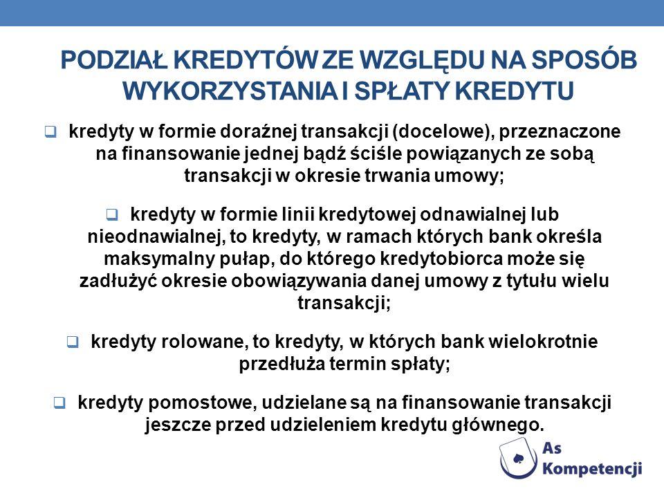 Podział kredytów ze względu na sposób wykorzystania i spłaty kredytu