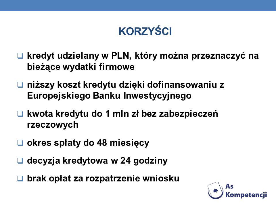 korzyścikredyt udzielany w PLN, który można przeznaczyć na bieżące wydatki firmowe.