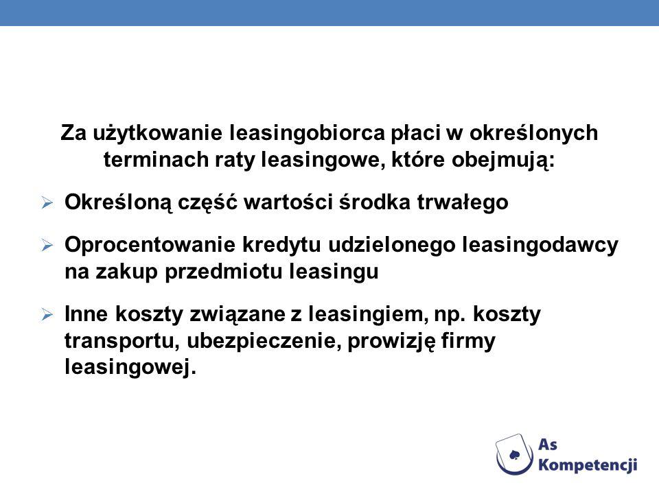 Za użytkowanie leasingobiorca płaci w określonych terminach raty leasingowe, które obejmują: