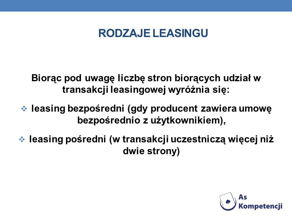 leasing pośredni (w transakcji uczestniczą więcej niż dwie strony)