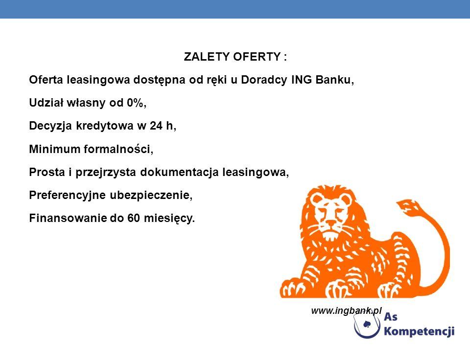 ZALETY OFERTY : Oferta leasingowa dostępna od ręki u Doradcy ING Banku, Udział własny od 0%, Decyzja kredytowa w 24 h, Minimum formalności, Prosta i przejrzysta dokumentacja leasingowa, Preferencyjne ubezpieczenie, Finansowanie do 60 miesięcy.