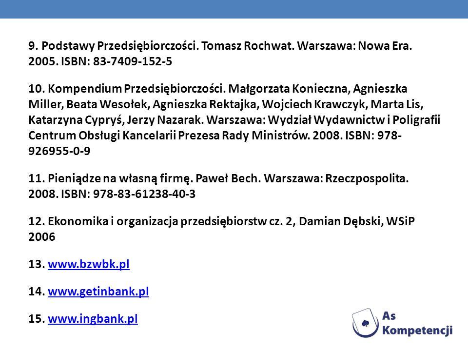9. Podstawy Przedsiębiorczości. Tomasz Rochwat. Warszawa: Nowa Era