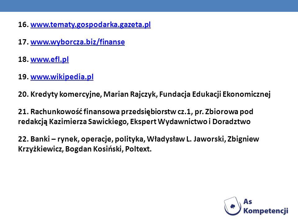 16. www. tematy. gospodarka. gazeta. pl 17. www. wyborcza