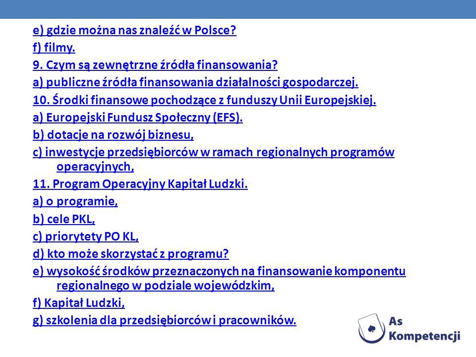 e) gdzie można nas znaleźć w Polsce