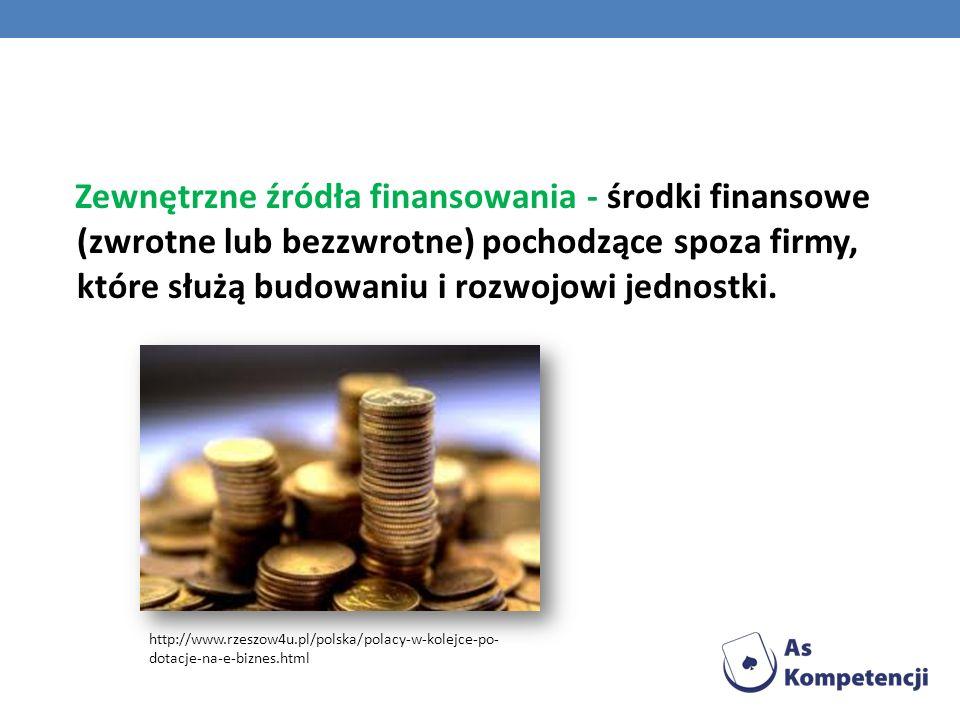 Zewnętrzne źródła finansowania - środki finansowe (zwrotne lub bezzwrotne) pochodzące spoza firmy, które służą budowaniu i rozwojowi jednostki.