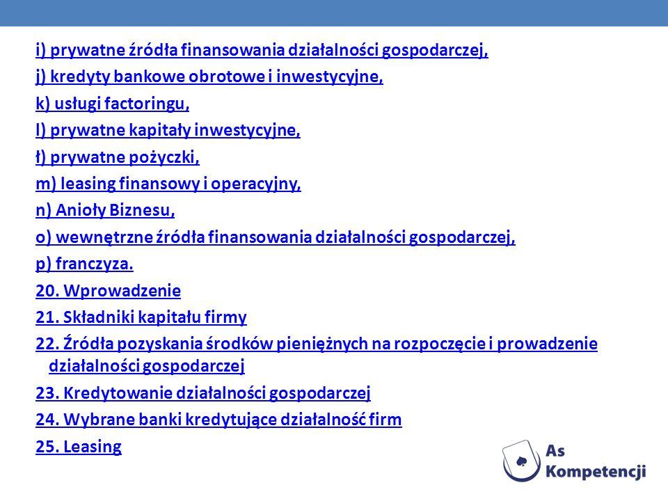 i) prywatne źródła finansowania działalności gospodarczej,