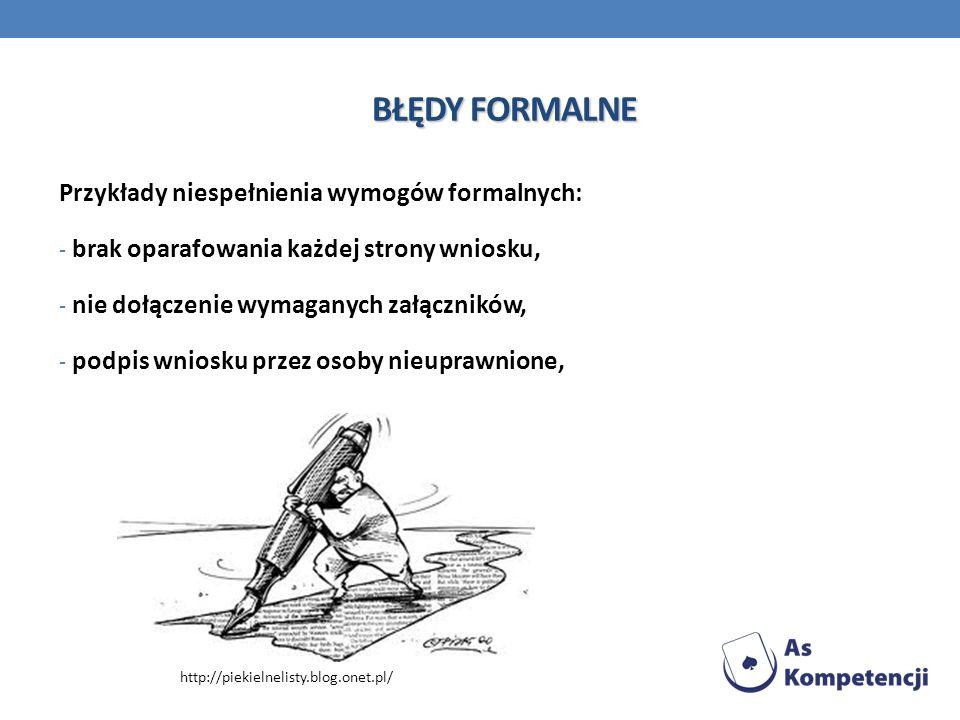 BŁĘDY FORMALNE Przykłady niespełnienia wymogów formalnych: