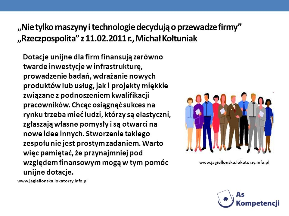 """""""Nie tylko maszyny i technologie decydują o przewadze firmy """"Rzeczpospolita z 11.02.2011 r., Michał Kołtuniak"""