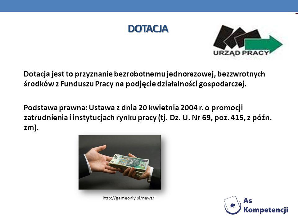 DOTACJA Dotacja jest to przyznanie bezrobotnemu jednorazowej, bezzwrotnych środków z Funduszu Pracy na podjęcie działalności gospodarczej.