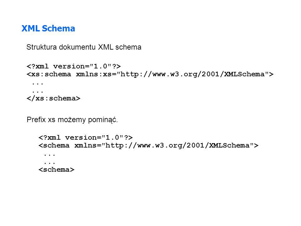 XML Schema Struktura dokumentu XML schema < xml version= 1.0 >
