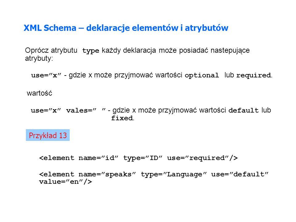 XML Schema – deklaracje elementów i atrybutów