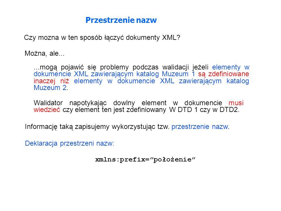 Przestrzenie nazw Czy mozna w ten sposób łączyć dokumenty XML