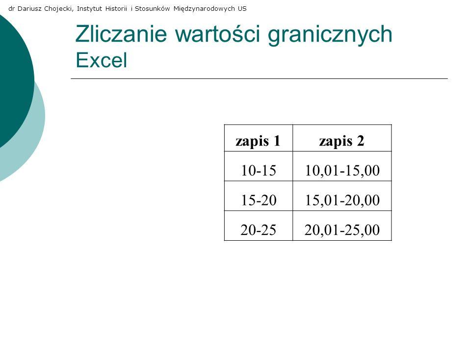 Zliczanie wartości granicznych Excel