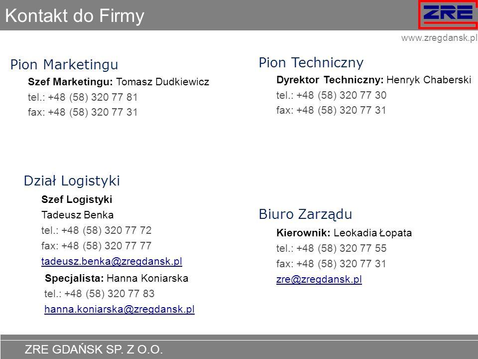 Kontakt do Firmy Pion Techniczny Pion Marketingu Dział Logistyki