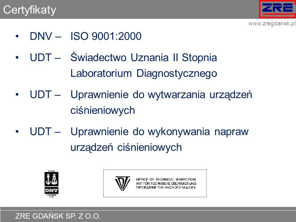 CertyfikatyDNV – ISO 9001:2000. UDT – Świadectwo Uznania II Stopnia Laboratorium Diagnostycznego.