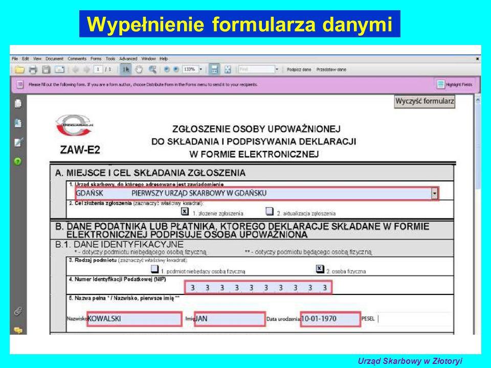 Wypełnienie formularza danymi