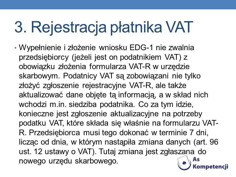 3. Rejestracja płatnika VAT