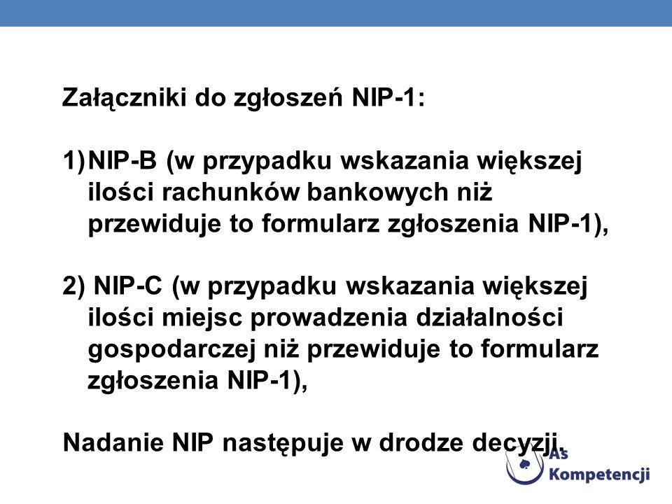 Załączniki do zgłoszeń NIP-1: