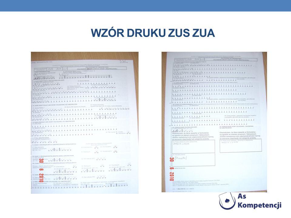 Wzór druku zus ZUA