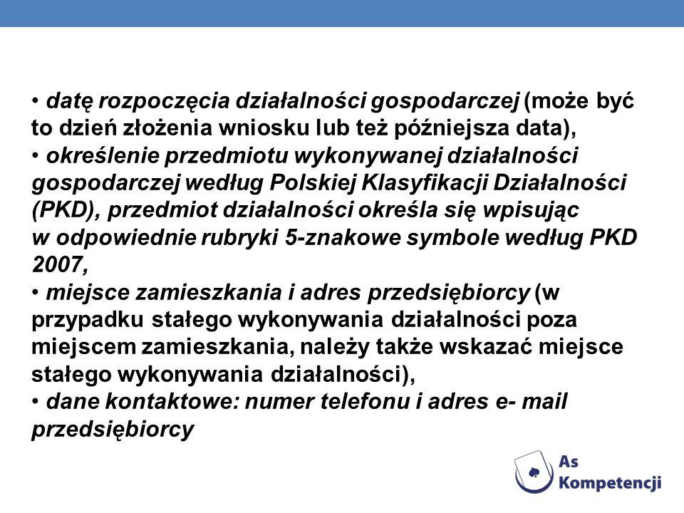 dane kontaktowe: numer telefonu i adres e- mail przedsiębiorcy