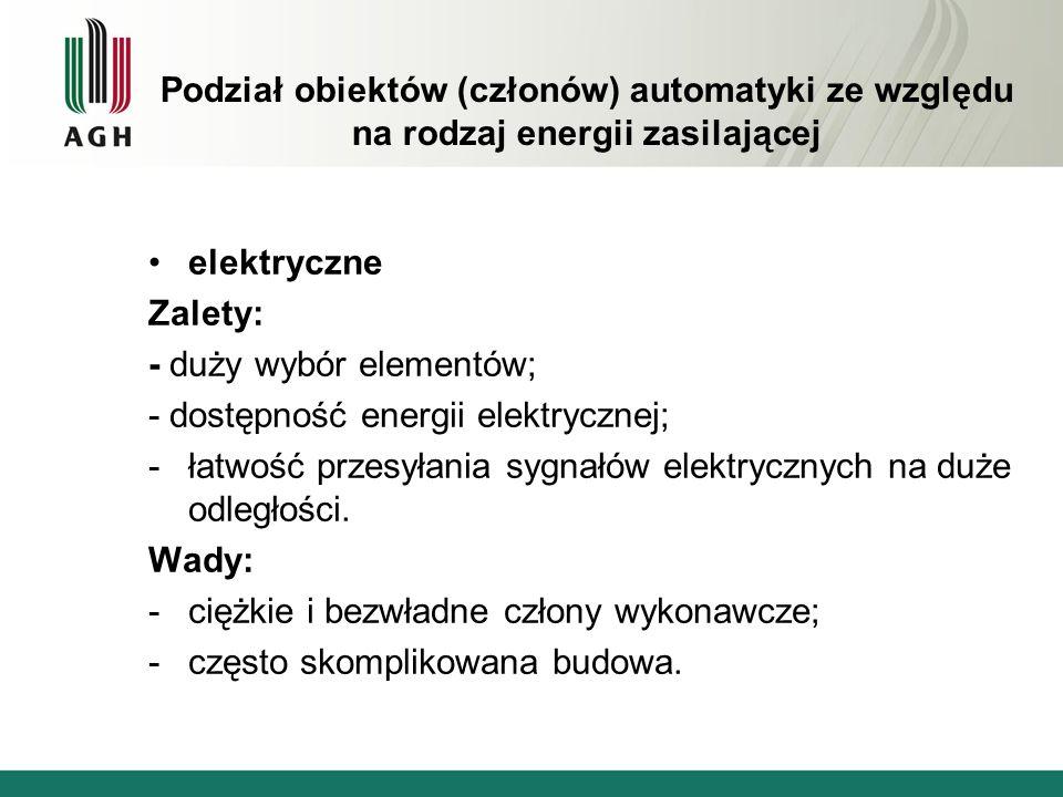 Podział obiektów (członów) automatyki ze względu na rodzaj energii zasilającej