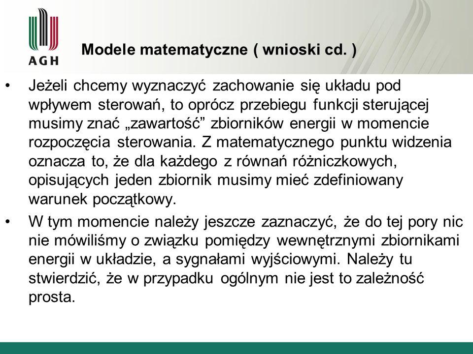 Modele matematyczne ( wnioski cd. )