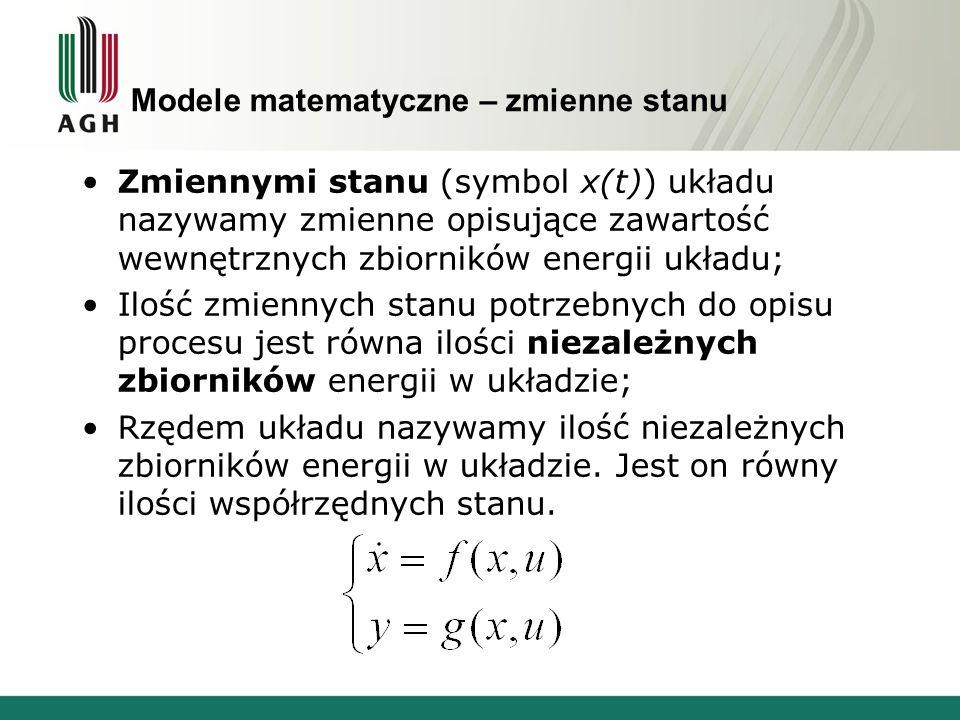 Modele matematyczne – zmienne stanu