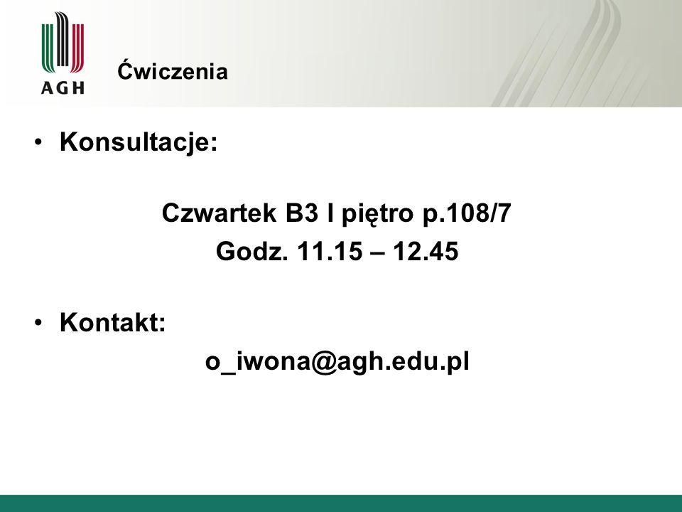 Czwartek B3 I piętro p.108/7 o_iwona@agh.edu.pl