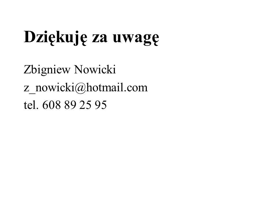 Dziękuję za uwagę Zbigniew Nowicki z_nowicki@hotmail.com
