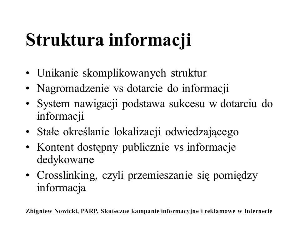 Struktura informacji Unikanie skomplikowanych struktur