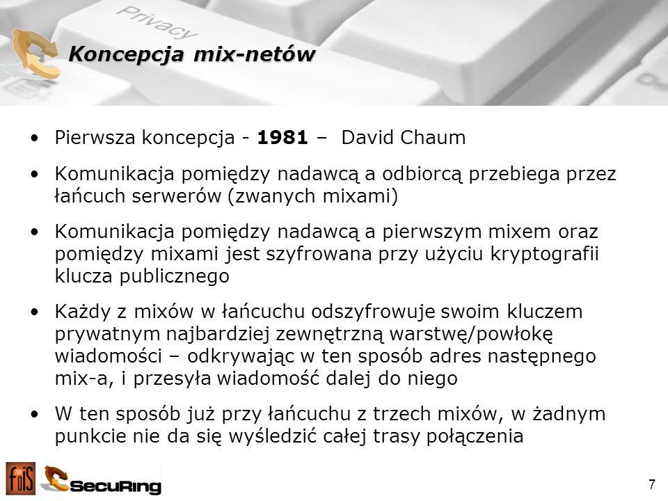 Koncepcja mix-netów Pierwsza koncepcja - 1981 – David Chaum
