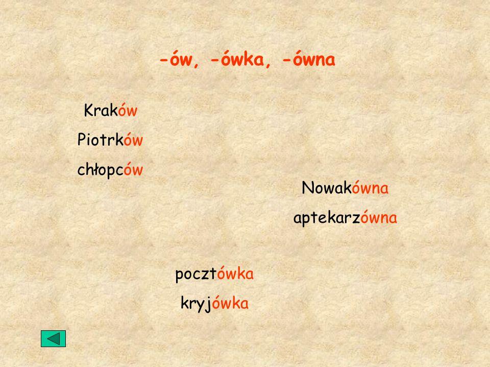 -ów, -ówka, -ówna Kraków Piotrków chłopców Nowakówna aptekarzówna