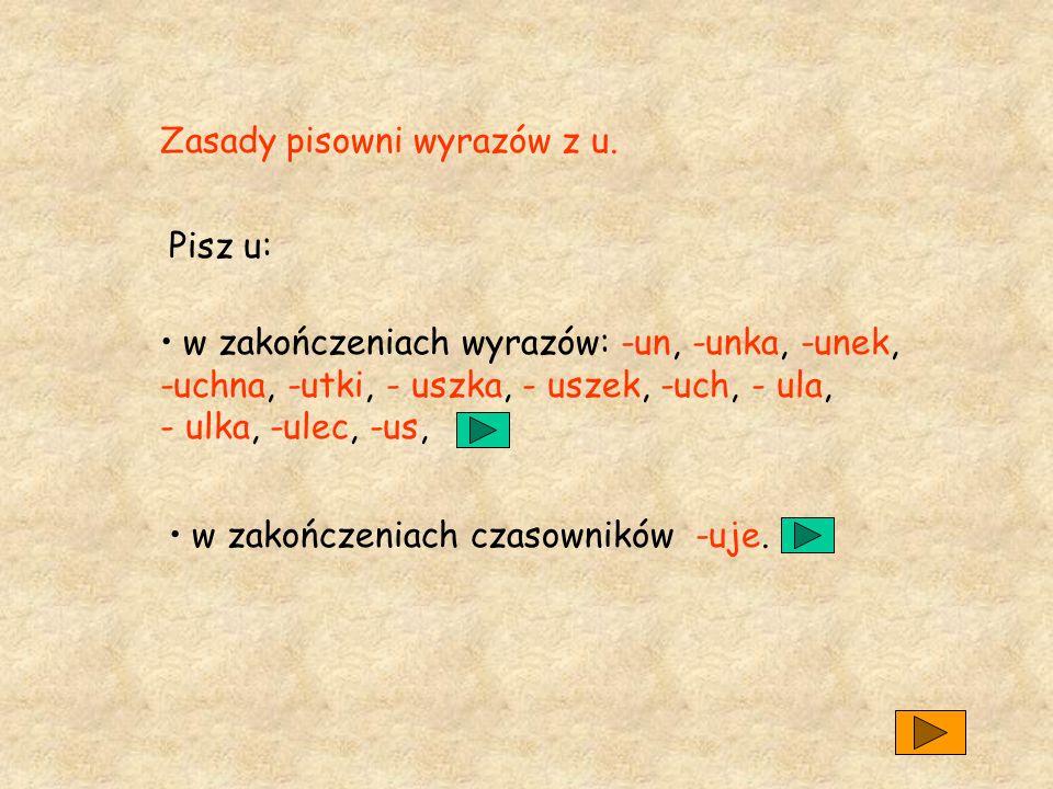 Zasady pisowni wyrazów z u.