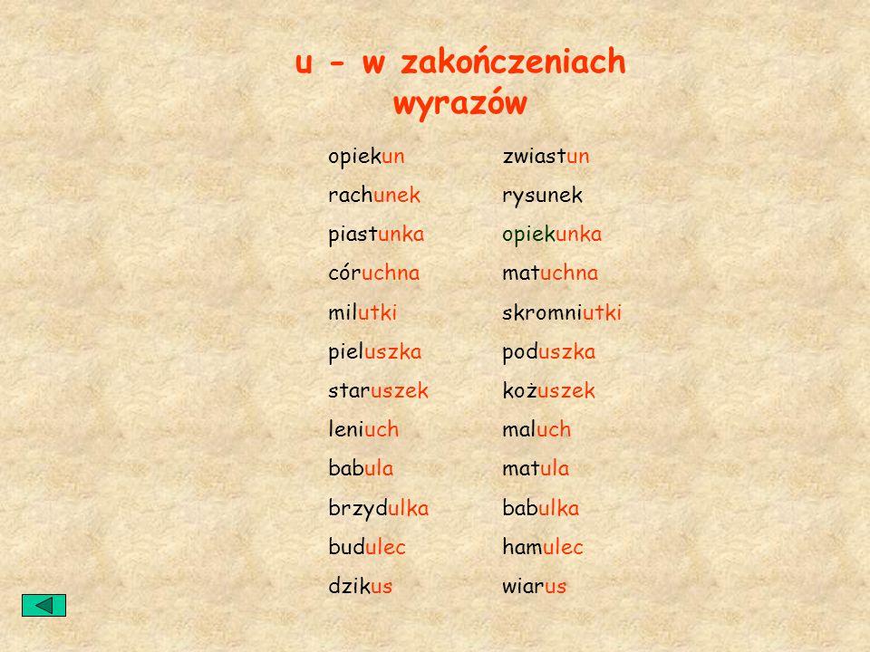 u - w zakończeniach wyrazów