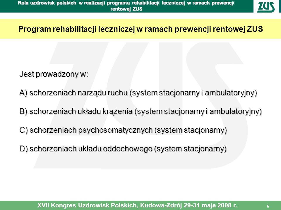 Program rehabilitacji leczniczej w ramach prewencji rentowej ZUS