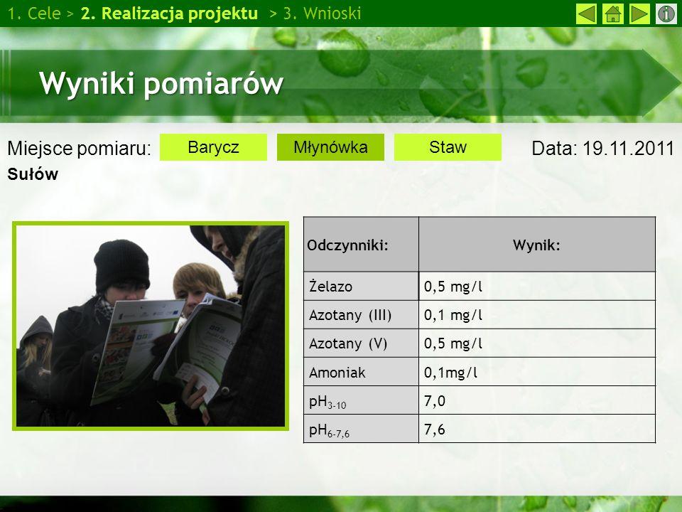 Wyniki pomiarów Miejsce pomiaru: Data: 19.11.2011