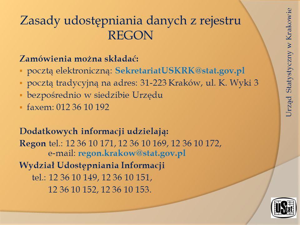 Zasady udostępniania danych z rejestru REGON