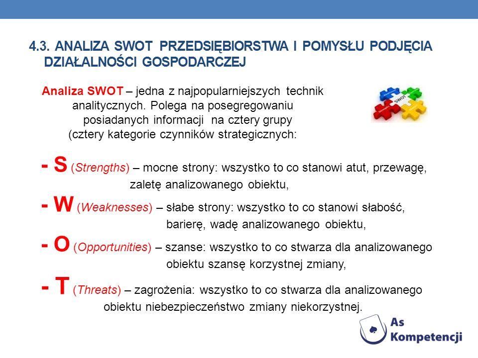 4.3. Analiza SWOT przedsiębiorstwa i pomysłu podjęcia działalności gospodarczej